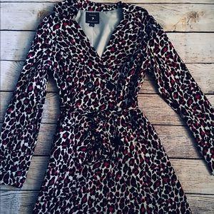 Forever 21 Women's Cheetah Print Trench Coat